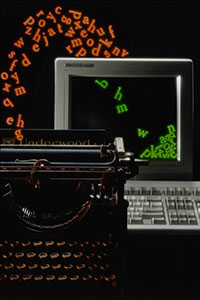 Image symbolising upgrading, showing characters flowing from a typewriter into a modern PC